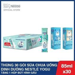 Mua 1 Thùng 30 Gói Thực phẩm bổ sung sữa chua uống dinh dưỡng Nestlé YOGU - 30 gói x 85ml, tặng 1 hộp bút hình gấu