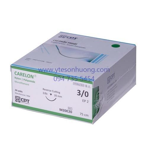 Chỉ CPT Nylon 3 0 M20E20 Dài 75 cm, kim tam giác, dài 20 mm, 3 8c - chicn002 1