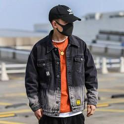 Áo khoác jean nam màu đen form rộng thêu ND2 cao cấp hot Chiwawa shop