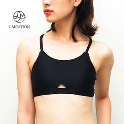 Áo ngực thể thao nữ thun co dãn tập gym, đi bơi & tắm biển LMCATION Olivia - màu đen