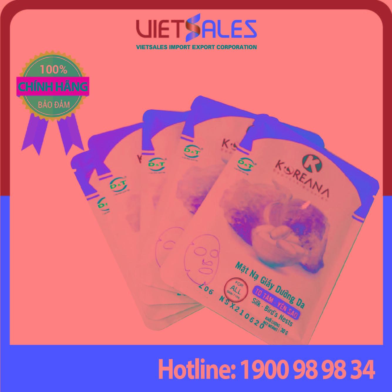 Mặt Nạ Giấy Tơ Tằm - Yến Sào KOREANA CAO CẤP dưỡng ẩm, cung cấp dưỡng chất cho da