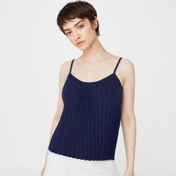 Gm store- Áo hai dây nữ chất len xếp ly màu xanh đen Size S, M