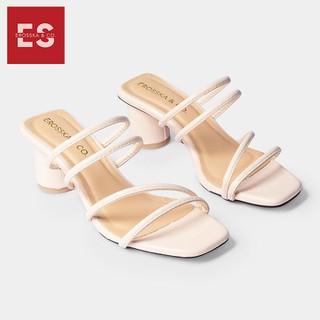 Dép cao gót Erosska thời trang mu i vuông phô i dây quai ma nh cao 5cm màu nude EM038 - EM038. thumbnail