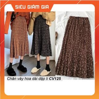 [Free ship] Chân váy dài dập li chiffon CV125 - CV125 thumbnail