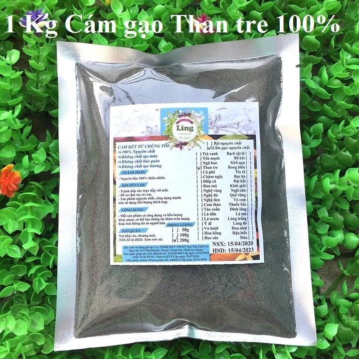Bột Cám Gạo Than Tre Hoạt Tính 1 Kg có giấy VSATTP và ĐKKD nguyên chất thiên nhiên 100% dùng để đắp mặt đa công dụng