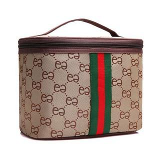 Túi đựng mỹ phẩm đồ trang điểm xách tay hình hộp kẻ sọc - 8564543 thumbnail