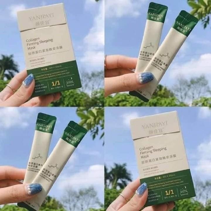 [ MIỄN PHÍ VẬN CHUYỂN ] Mặt Nạ - Hộp 20 gói Mặt Nạ Ngủ Thạch Collagen Yanjiayi Giúp Nâng Cơ Mặt Bổ Sung Collagen