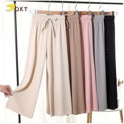Quần ống sớ suông rộng, quần culottes cao cấp lưng chun QKT QT11