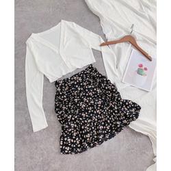 Set áo và chân váy hoa cúc