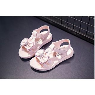 sandal bé gái đính nơ,đế êm,da mềm sd26