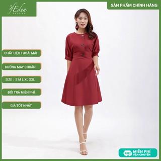 Váy Đầm Chữ A Thời Trang Eden Tay Cánh Dơi Phối Nút - D386 - D386 thumbnail
