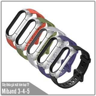 Dây đeo thay thế Miband 3 - 4 - 5 dây cao su khóa gài mặt kim loại TF - MB5-NHUA-TF thumbnail