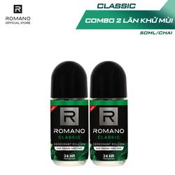 Combo 2 Lăn khử mùi Romano Classic kháng khuẩn & khô thoáng cả ngày 50ml/chai
