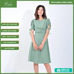 Váy Đầm Công Sở Nữ Thời Trang Eden Xoắn Eo Tay Rút - D408