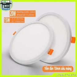 Đèn LED âm trần 15W 20W siêu mỏng ánh sáng trắng - đế nhôm cao cấp (viền cực mỏng 10mm - mỏng nhất thị trường)