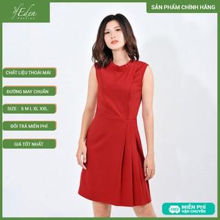 Váy Đầm Công Sở Nữ Thời Trang Eden Cổ Tròn Nhúng Bèo Xếp Li Eo - D411 - D411 thumbnail
