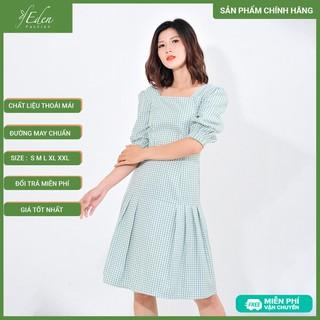 Váy Đầm Công Sở Nữ Thời Trang Eden Kẻ Ca Rô Cổ Vuông Tay Lỡ - D410 - D410 thumbnail