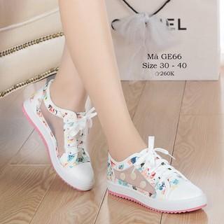 Giày thể thao buộc dây cho bé gái tiểu trung học 5 - 15 tuổi nền hoa phong cách GE66 - GE66 thumbnail