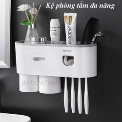 Bộ nhả kem đánh răng nhà tắm- kệ đựng bàn chải kem đánh răng - kệ đựng bàn chải kem đánh răng