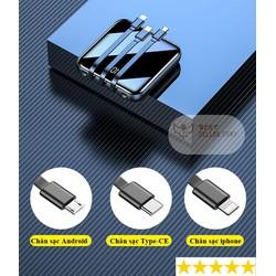 Pin sạc dự phòng kèm dây cáp đi kèm với 3 loại cáp - 10000mAh backup battery