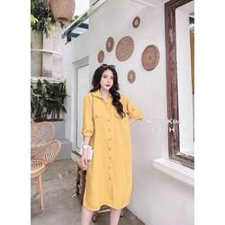 Đầm Bầu - Váy Bầu Suông Công Sở Thời Trang Thiết Kế SƠ MI Mới-free size 42-70kg