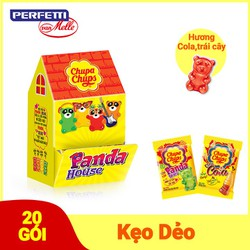 Kẹo dẻo Chupa Chups Panda House gồm 10 gói kẹo dẻo Chupa chups vị Cola và 10 gói kẹo dẻo Chupa Chups vị Panda