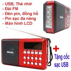 Máy nghe đài FM,nhạc thẻ nhớ ,USB,CÓ ĐÈN PIN SIÊU SÁNG Craven CR65 Đỏ