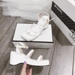(Bảo hành 12 tháng) Giày sandal đế xuồng nữ đế gợn sóng phối quai ngang cách điệu - Giày đế xuồng nữ cao 7cm - Giày nữ da mềm 2 màu Trắng và Đen - Linus LN237