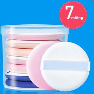 Bông đánh phấn trang điểm cao cấp, siêu mềm mịn, siêu tiện lợi 1 hộp 7 miếng - BP 7 miếng thumbnail