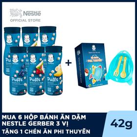 Mua 6 Hộp bánh ăn dặm Nestle Gerber 3 vị: Dâu Táo, Chuối , Việt Quất, Tặng 1 chén ăn Phi Thuyền - GEB030703