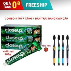 [ Free Ship ] Combo 5 Tuýp Kem đánh răng Closeup Thái Lan tặng kèm 4 bàn chải NANO cao cấp