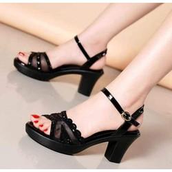 Giày sandan đế vuông đính đá