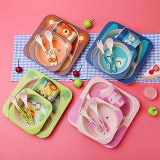 [Hàng Loại A] Bộ đồ dùng ăn dặm dễ thương 5in1 bát đĩa cốc thìa dĩa cao cấp, chất liệu từ sợi tre an toàn cho bé [Rẻ số 1] - Yytr009Uu78 thumbnail