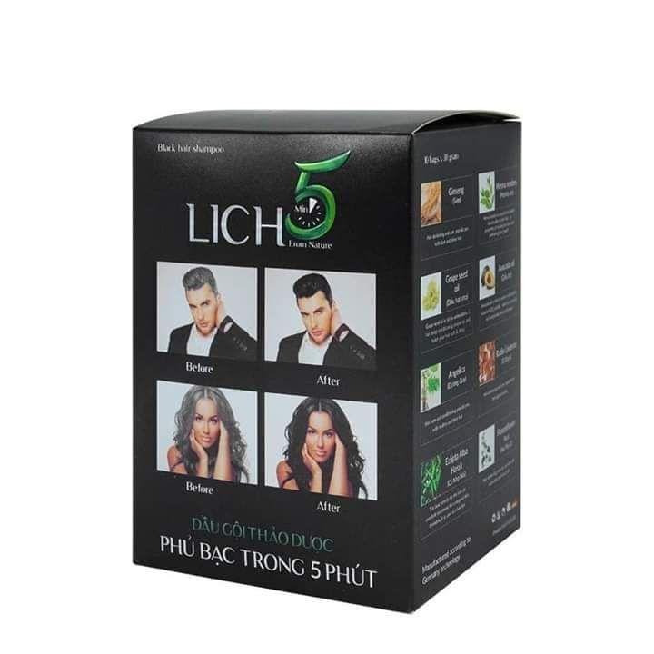 Dầu gội thảo dược phủ bạc đen tóc  lich 5 (nâu đen)