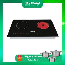 MUA 1 ĐƯỢC 1 Bếp Âm Điện Từ Hồng Ngoại Nagakawa NAG1251 TẶNG Bộ 3 nồi inox 4 đáy - Công suất 2200W - Mặt kính chịu nhiệt cao cấp - Khóa an toàn thông minh - Bảo hành 12 tháng