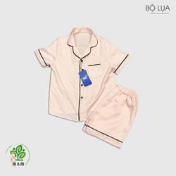 Bộ pijama lụa trẻ em cộc tay Màu hồng Mầm Store cho bé trai và gái từ 12 đến 34kg
