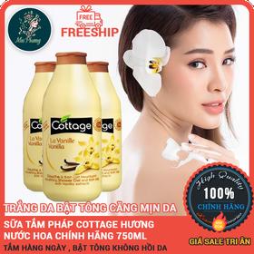 Sữa tắm Cottage 750ml Pháp chính hãng Bật tông trắng da - suatamhuongnuochoaCottage750ml