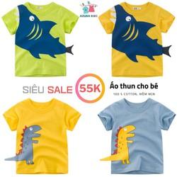 Áo bé trai 27KIDS áo thun cho bé in hình Khủng Long, Cá Mập chất cotton hàng xuất khẩu