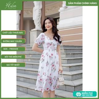 [NHẬP FA30A2 GIẢM 30K] Váy Đầm Thời Trang Công Sở Eden Họa Tiết Hoa Phối Dây Rút - D404 - D404 thumbnail