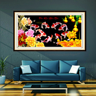 Tranh đính đá Cửu ngư quần hội 130 65cm - tự đính - DF583 thumbnail