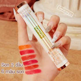 Son môi 6 màu AGAG son môi 2 đầu son nội địa Trung son lì có dưỡng son đổi màu son thỏi son 6 màu - KR-SM27