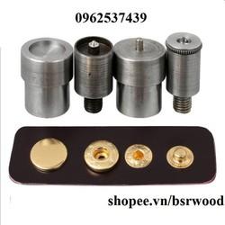 Bộ cối khuôn đóng nút bấm 4 thành phần (nút bóp) Dùng cho máy đóng nút xanh Loại nút 10,12,15mm Phụ liệu may mặc