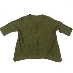 Áo thun tay dài nữ Big Size xanh rêu 80kg-90kg