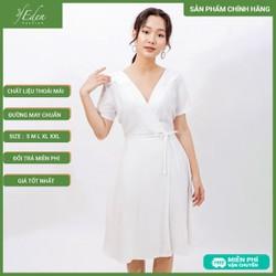 Váy Đầm Công Sở Thời Trang Eden Cổ Tim Thắt Nơ Eo - D399