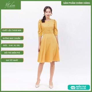 Váy đầm công sở thời trang Eden tay lỡ cổ tròn phối nút - D398 - D398 thumbnail