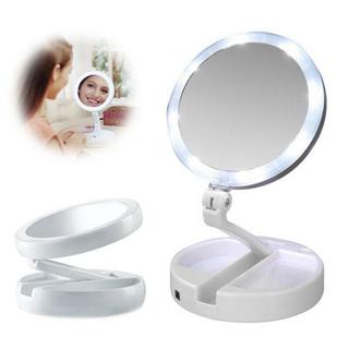 Gương trang điểm để bàn phấn có đèn led sạc kính tròn makeup phóng đại lật 2 mặt xoay 360 độ mini gấp gọn - gương led thumbnail