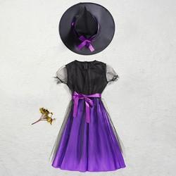 Trang phục phù thủy TÍM hóa trang Hallowen cho bé gái
