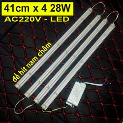 combo 4 Thanh LED AC220V đế hít nam châm 41cm x 4 28W kèm nguồn