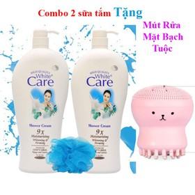 [COMBO 2 CHAI] Sữa Tắm Dê White Care 9X 1200Ml trắng da dưỡng ẩm TẶNG KÈM MÚT RỬA MẶT - COMBO 2 CHAI TẶNG KÈM MÚT RỬA MẶT