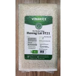 Gạo Đặc Sản Sóc Trăng Hương Lài ST21 2kg - hạt thon dài dẻo mềm ngọt thơm cơm - túi PE ép chân ko